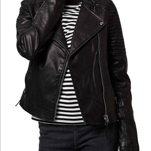 Topshop Faux Leather Quilted Moto Jacket